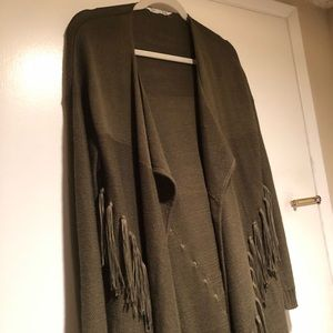 LFT Sweaters - Open Cardigan Sweater with Fringe Olive Green M